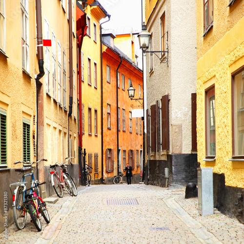 Staande foto Stockholm Old side street