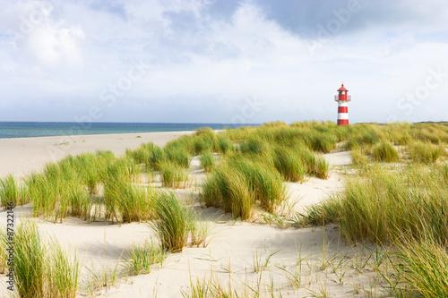 Foto op Plexiglas Noordzee Rot-Weißer Leuchtturm