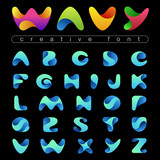 Rounded Wave Font design vector editable. Friendly wavy Alphabet - 87325541