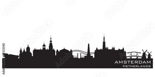 Poster Amsterdam Netherlands city skyline vector silhouette
