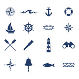 Set of nautical sea ocean sailing icons.