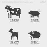 Farm Animals Logos negative space style design vector templates. - 87342916
