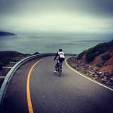 Cycling down Hawk Hill