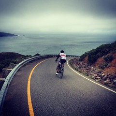 Cycling down Hawk Hill