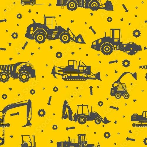 Materiał do szycia Heavy construction machines seamless pattern