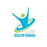 Fototapety Health human - vector logo concept illustration. Human character creative sign. Sport fitness logo icon. Vector logo template. Design element.