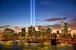 Manhattan skyline and the Towers of Lights (Tribute in Light) at sunset in New York