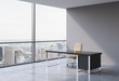 A workplace in a modern panoramic office, New York city view from the windows. A concept of financial consulting services. A brown leather chair and a black table. 3D rendering.