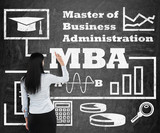 Business woman is drawing a flowchart about MBA degree on the black chalk board poster