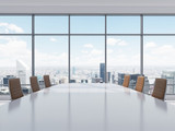 Fototapety Panoramic conference room in modern office in New York City. Brown leather chairs and a table. 3D rendering.