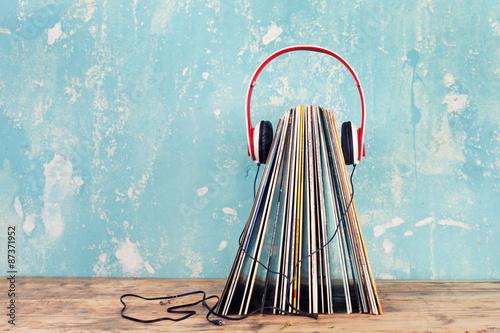 Poster Schallplatten und Kopfhörer