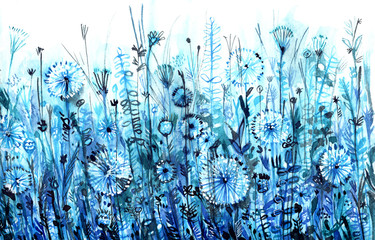 blue horizontal thickets, abstract watercolor background