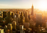 Manhattan Skyline bei Sonnenuntergang in New York