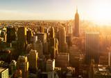 Manhattan Skyline bei Sonnenuntergang in New York