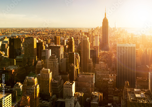 Poster Manhattan Skyline bei Sonnenuntergang in New York