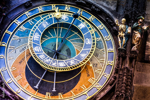 Prague astronomical Clock on  the Old Town Hall/The historic center of Prague, ancient architecture, and cultural heritage