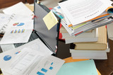 Untidy and cluttered desk poster