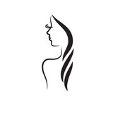 Fototapety Beauty logo template. fashion model vector illustration. Card for hair and beauty salon. Girl Face Logo.