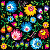 Floral Polish folk art pattern on black - Wzory Lowickie, Wycinanki