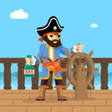 Pirate. Filibuster captain at helm of ship poster