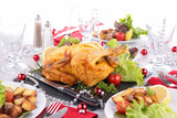 Fototapeta decorated table with roasted chicken