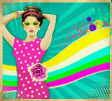 Young woman in pink dress and summer sunglasses .retro poster ba