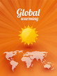 Global warming sun and a map of the world on an orange background