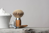 Fototapety vintage Shaving Equipment on white Table and bright Background