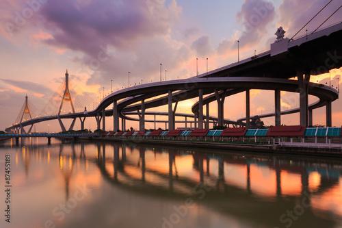 Plexiglas Brug Night Scene Bhumibol Bridge, Bangkok, Thailand