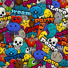 Graffiti Characters Seamless Pattern