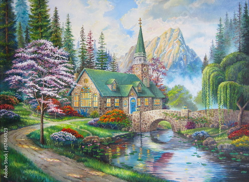 Obraz na Plexi Original oil painting The Church in the forest