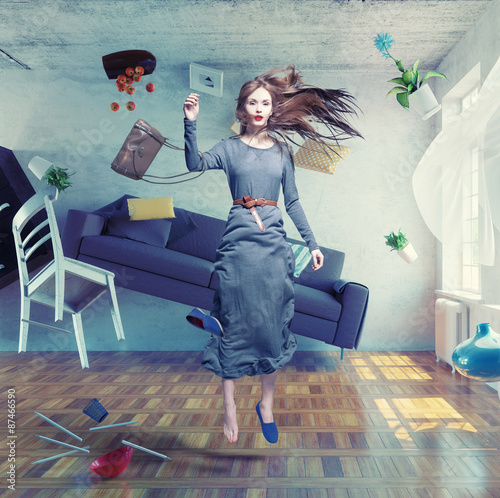 young beautiful lady fly in zero gravity room. Photo combination creative concept - 87466590