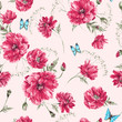 Beautiful gentle watercolor vintage summer seamless pattern with