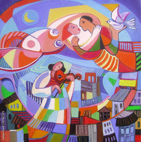 Original oil painting The lovers © Elena Yalcin