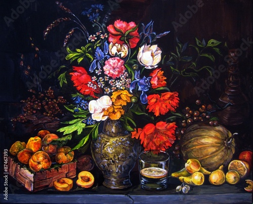 Plakat Original gouache painting on paper Fruits and flowers