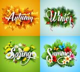 Fototapety Four Seasons  Typographic Banner. Vector illustration