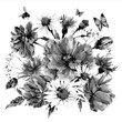 Vintage monochrome watercolor bouquet of wildflowers, poppies