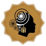 Women face profile silhouette with art deco golden earring on background in star shape. Promotional emblem for goldsmith and jewelry sale. poster