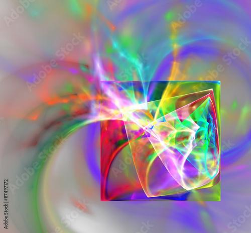 Abstract fractal design. Neon Squares. © arkadiy54321