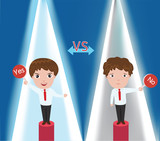 Businessman contest between yes man and no man