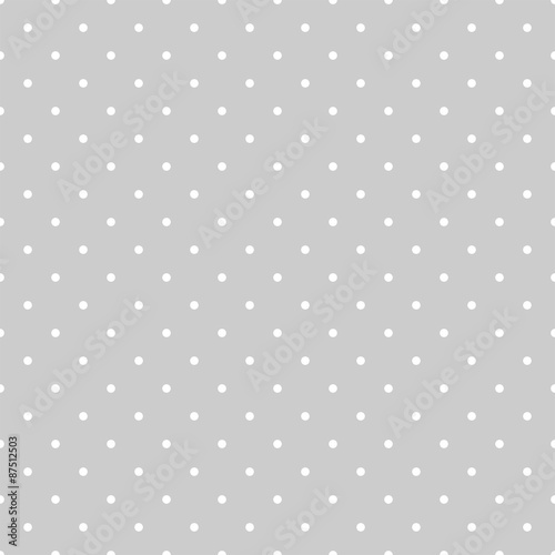 Seamless white and grey vector pattern or tile background with polka dots - 87512503