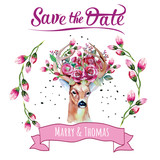 Deer watercolor. Save the date. eps 10 Wedding illustration. Eco