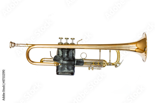 Staande foto Muziekwinkel Trumpet Isolated on White