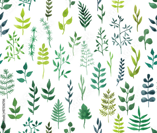 Cotton fabric Vector green watercolor floral seamless pattern.