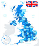 Map of Great Britain and flag - highly detailed vector illustration. Image contains land contours, country and land names, city names, water object names.