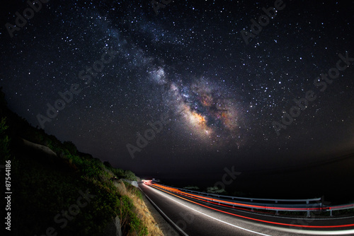 Light trails on the road with the milky way galaxy on the sky (horizontal) Poster