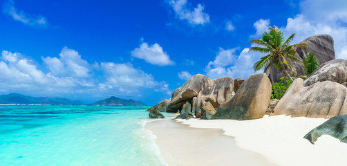 Tropical Paradise - Anse Source d'Argent - Beach on island La Digue in Seychelles