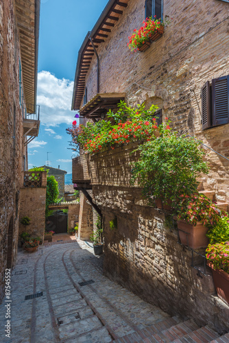 The winding streets and crannies in Spello, Italy