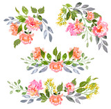 Fototapety Set of Watercolor floral composition