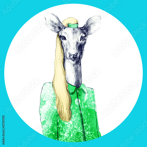 fashion animal .watercolor illustration - 87593510